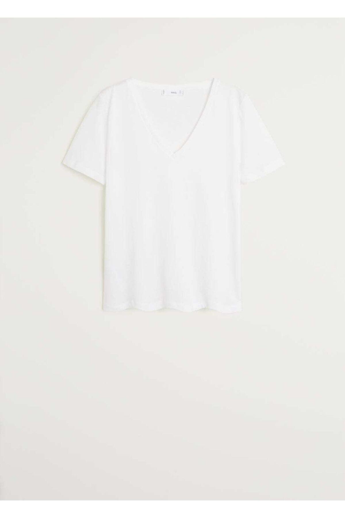MANGO Woman Kadın Beyaz V Yakalı Pamuklu Tişört 67084384 1