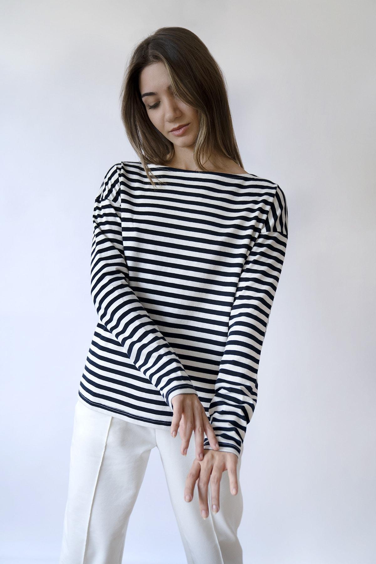 BeCasual Kadın Çizgili Uzun Kollu Kayık Yaka T-shirt 1