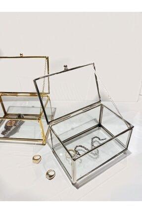TASARIMHMODA Gümüş Takı Kutusu Cam Kutu & Makyaj Organizeri