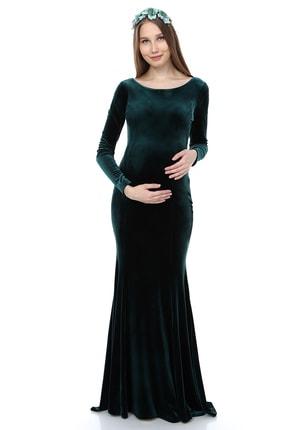 Moda Labio Uzun Kol Kadife Balık Zümrüt Yeşili Hamile Elbisesi