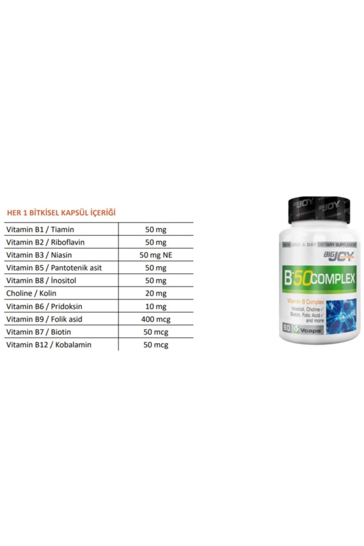Big Joy Vitamin B-50 Complex 60 Kapsül 3 Adet 2