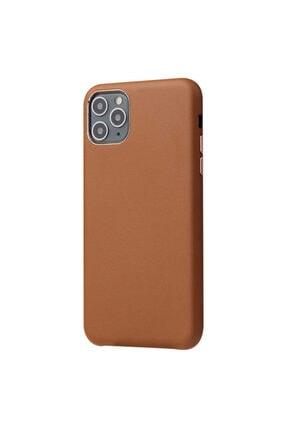zore Apple Iphone 11 Pro Max Eyzi Kılıf Deri Görünümlü Kamera Korumalı Arka Kapak Kahverengi