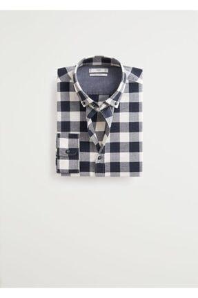 MANGO Man Erkek Siyah Regular Kesim Kareli Oduncu Gömlek 67020505