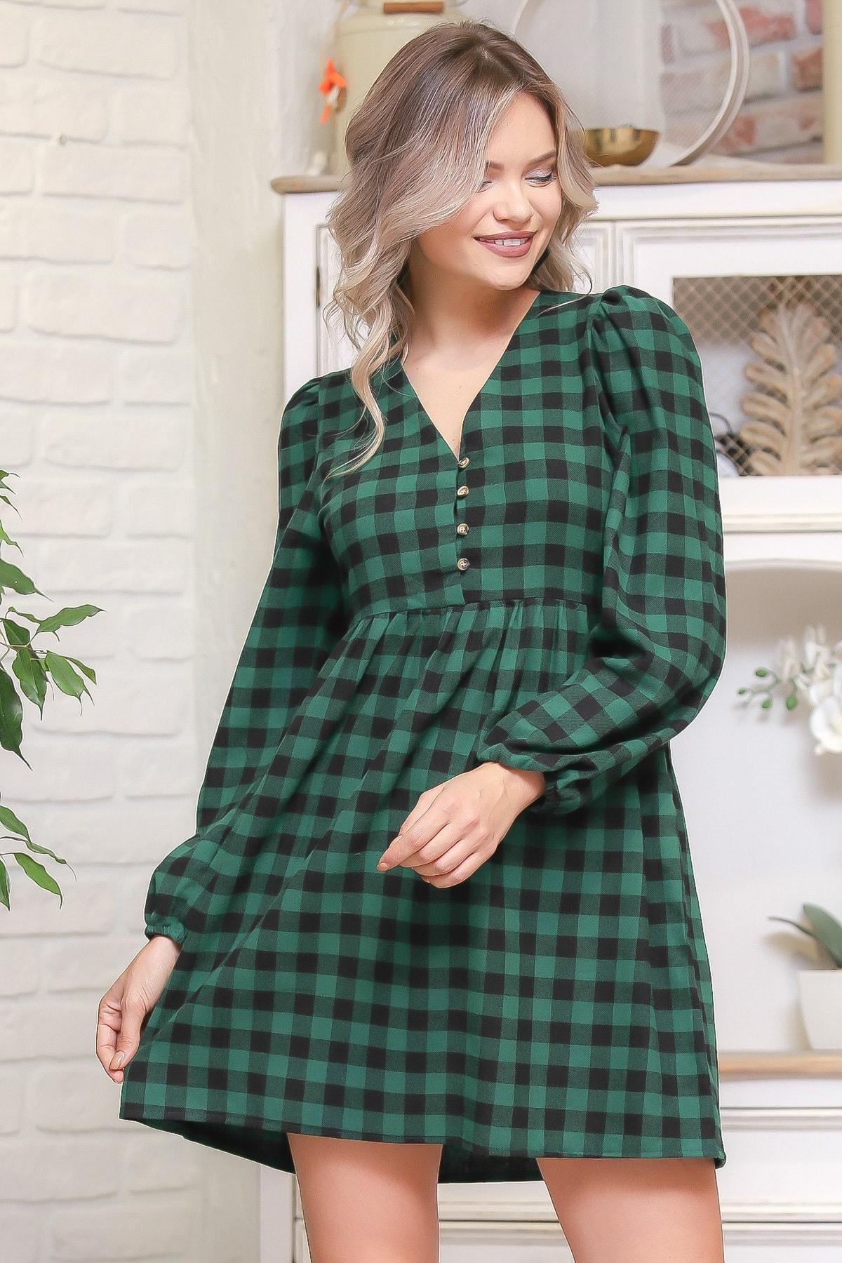 Chiccy Kadın Multİ Ekose Desen Düğme Detaylı Retro Elbise M10160000EL95976 2