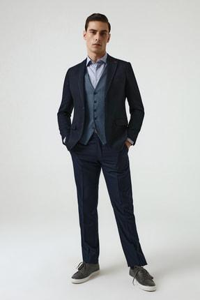 D'S Damat Lacivert Renk Erkek  Yelekli Takım Elbise (Slim Fit)