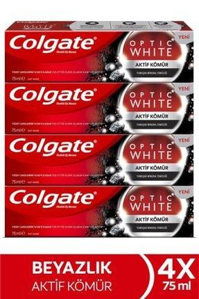 Colgate Optic White Aktif Kömür Yumuşak Mineral Temizliği Beyazlatıcı Diş Macunu 4 X 75 Ml