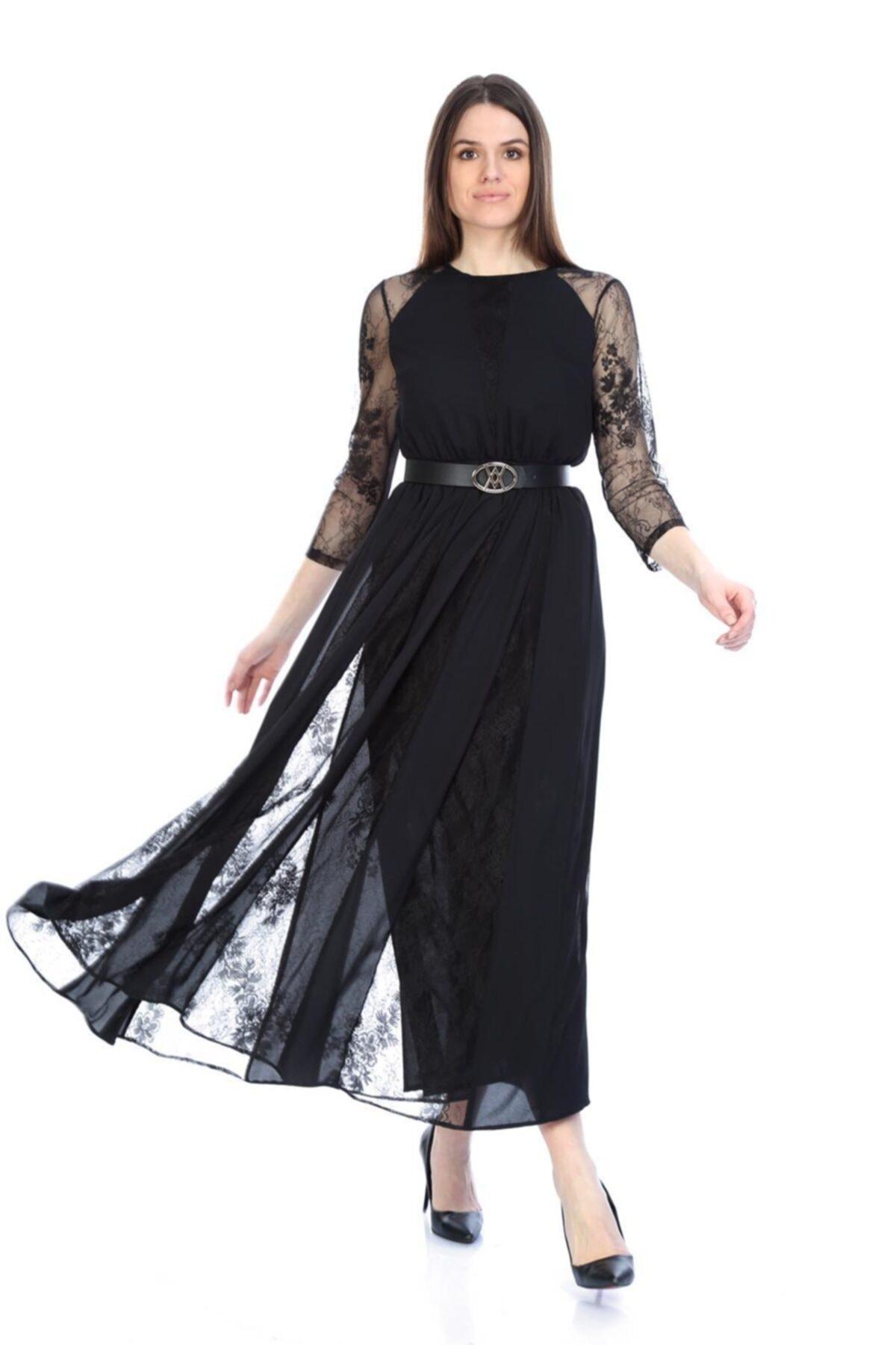 WOMMA Dantel Garnili Şifon Elbise 1