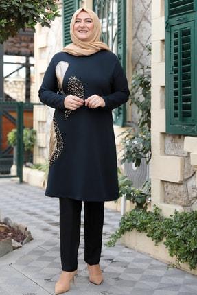 emsale Kadın Siyah Altın Işıltı Tunik Gold