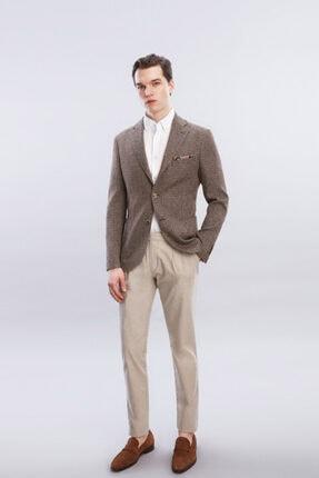 W Collection Erkek Kahverengi Jakarlı Casual Ceket