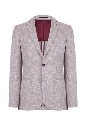 W Collection Erkek Bordo Beyaz Desenli Ceket