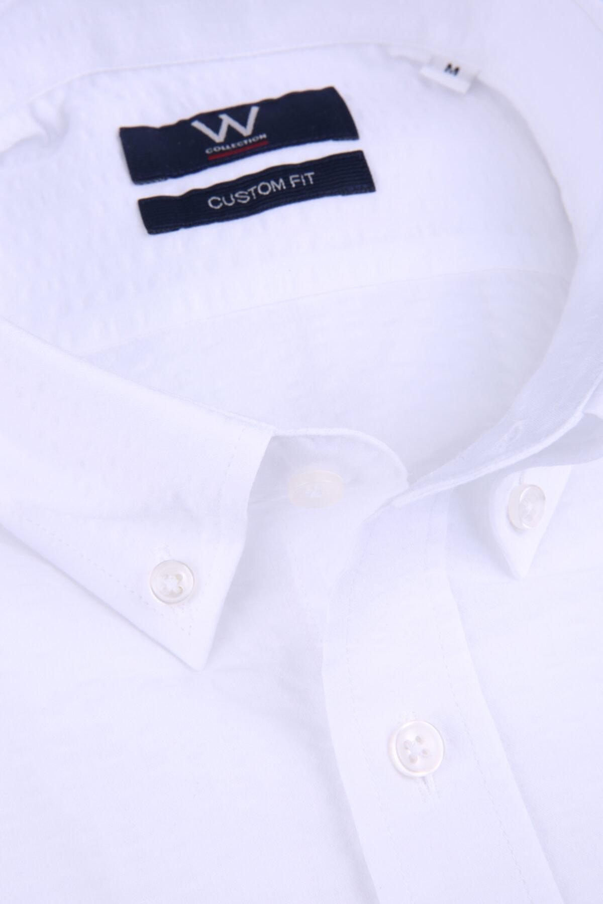 W Collection Beyaz Seer Sucker Gömlek 2