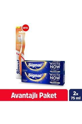 Signal White Now Gold Anında Beyazlık Diş Macunu 75 ml X2  Performance Orta Diş Fırçası