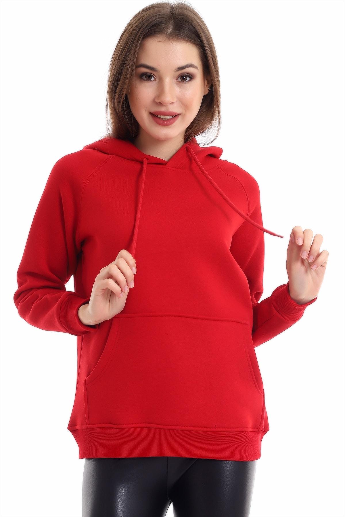 boffin Kadın Bordo Cep Detaylı İçi Pamuklu Sweatshirt 2