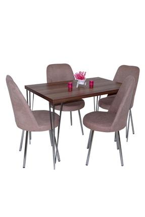 Hedef Ceviz Mutfak Masası ve  Kahve Şato Sandalye 4 Adet Takım