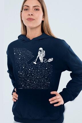 Rock & Roll Kadın Lacivert Süpürgeli Astronot Kapşonlu Sweatshirt