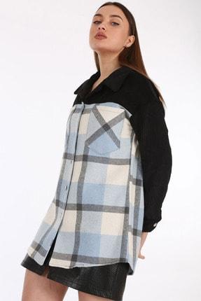 Bigdart Kadın Mavi Ekose Desen Oversize Tunik