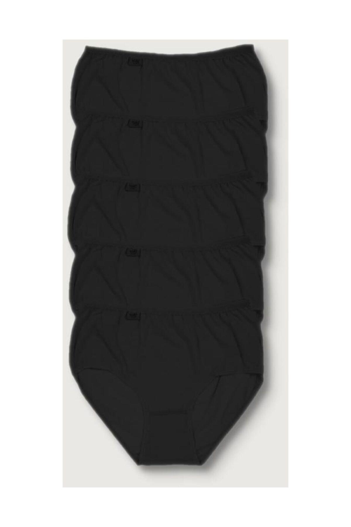 Tutku Kadın Siyah 5'li Paket  Likralı Bato Külot ELF568T0924CCM5 1