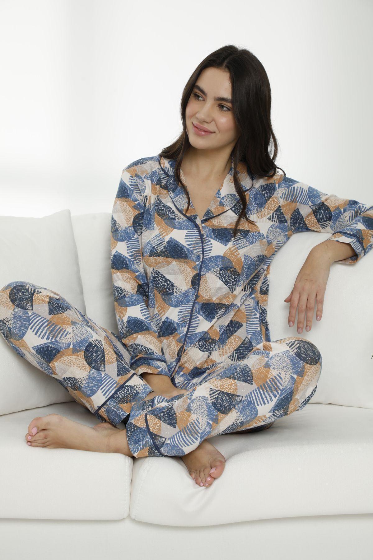 Siyah İnci Kadın Çok Renkli Pamuklu Likralı Düğmeli Biyeli Pijama Takım 2