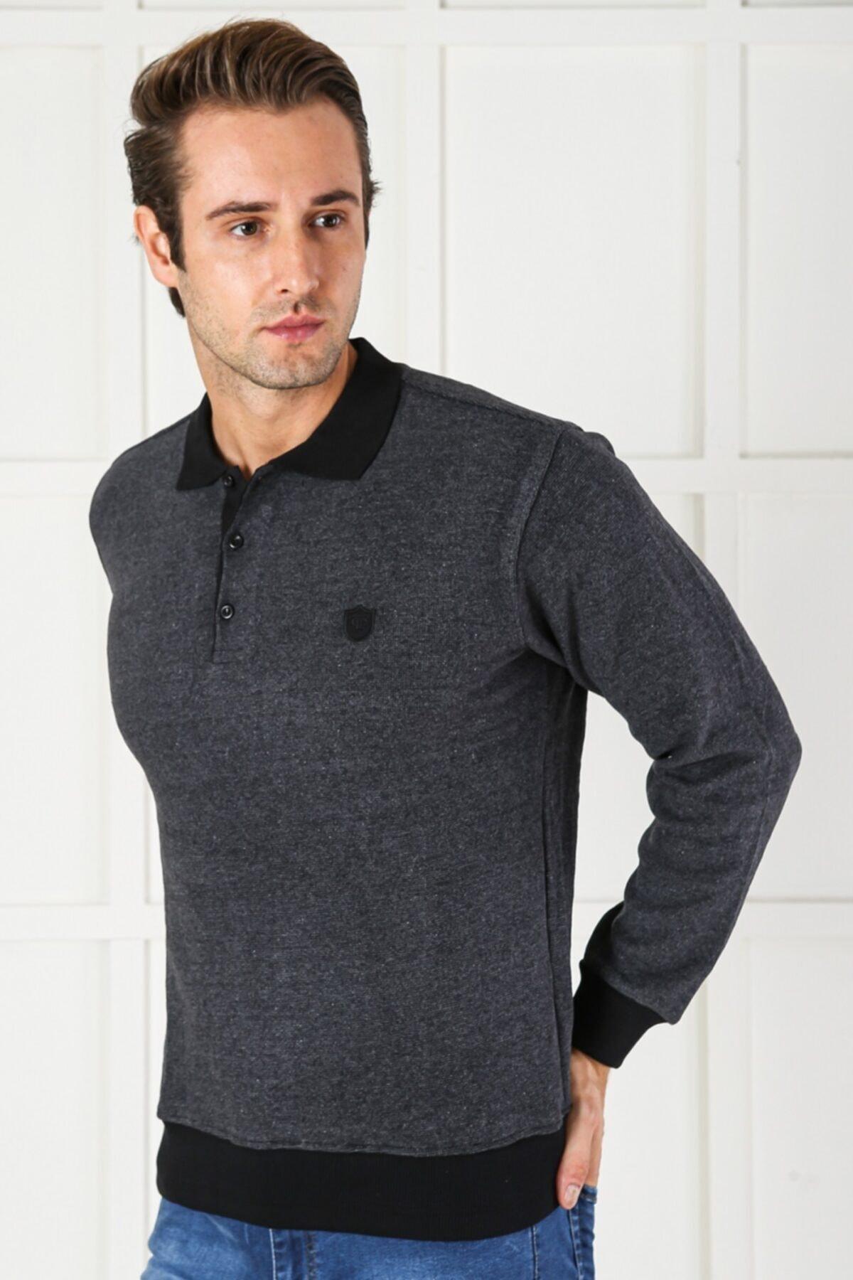 Color Colucci Erkek Gri Düğmeli Kalın Polo Yaka Eteği Lastikli Selanik Örgü Rahat Ve Geniş Kalıp Sweatshirt 1