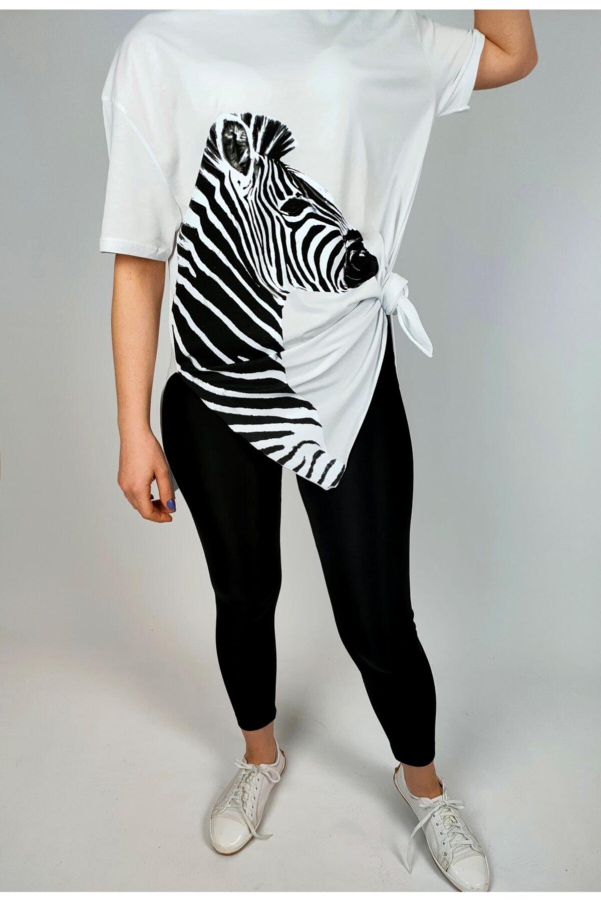 Ankamo Kadın Beyaz Zebra Baskılı Pamuklu T-shirt 2
