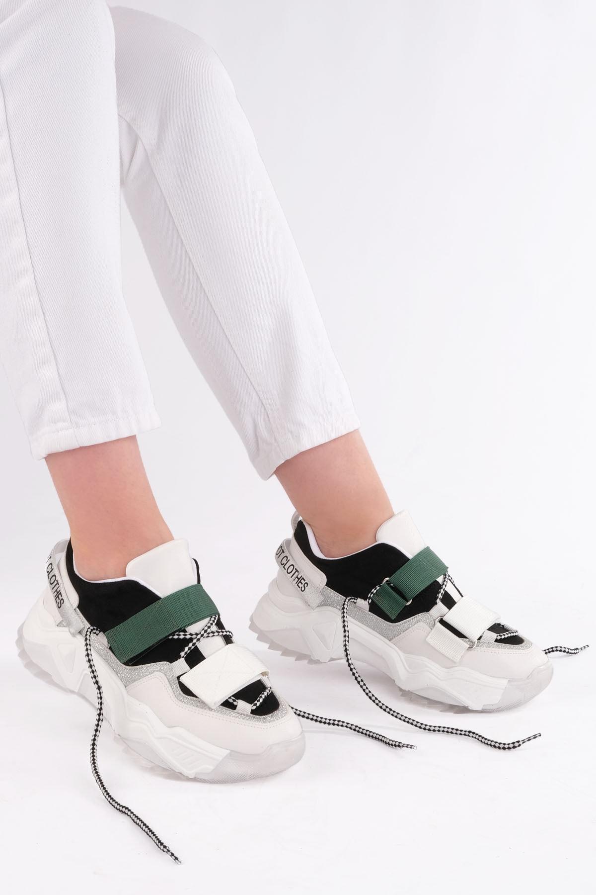Marjin Cakir Kadın Dolgu Topuklu Sneaker Spor Ayakkabısiyah 1