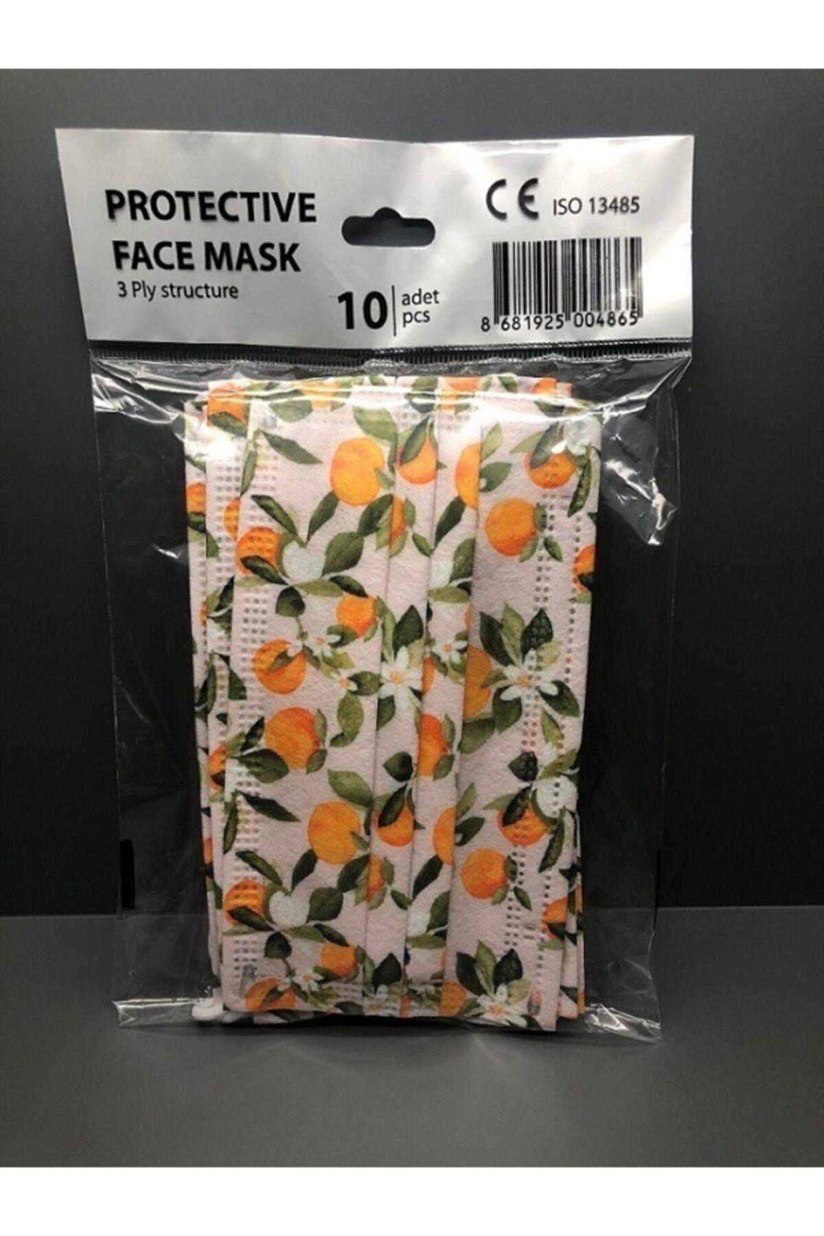 Bosmax 10 Adet Desenli Baskılı Maske, 3katlı, Burun Telli, Meltblown Ara Katmanlı 2