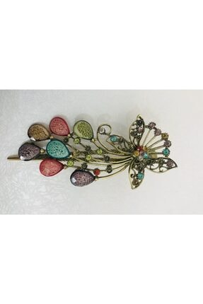 Mima Kadın Renkli Taşlı Kelebekli Toka