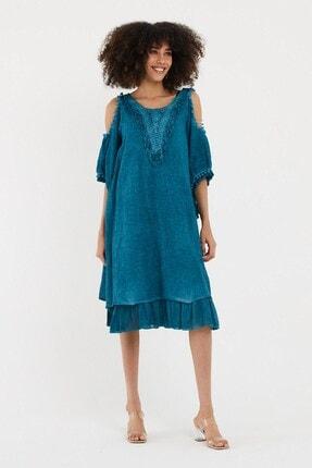 VALE WOMAN Valewoman Kol Detaylı Dantelli Etek Ucu Volanlı Yıkamalı Kadın Elbise   Otantik Elbise  