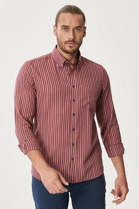 AC&Co / Altınyıldız Classics Erkek Kırmızı-Lacivert Tailored Slim Fit Düğmeli Yaka %100 Koton Kareli Gömlek