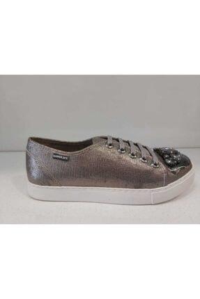 Hammer Jack Platin Rengi Hakiki Deri Kadın Sneaker Ayakkabı