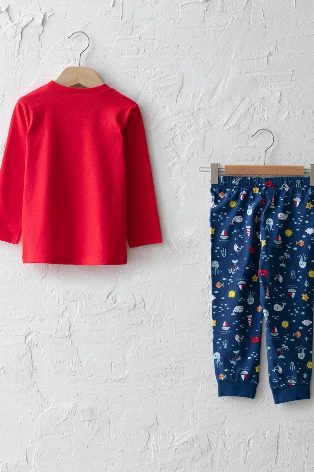 LC Waikiki Erkek Bebek Canlı Kırmızı Hnk Pijama Takımı 2