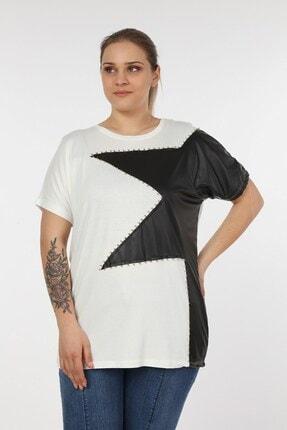 Womenice Kadın Beyaz Önü Derili Yıldız Taşlı Büyük Beden Bluz