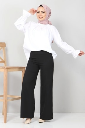 Tesettür Dünyası Kadın Bol Paça Kumaş Pantolon Tsd12403 Siyah