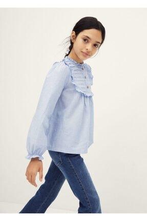 MANGO Kids Fırfırlı Pamuklu Bluz