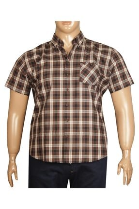 FaLa Jeans Erkek Büyük Beden Kahverengi Kısa Kol Ekose Gömlek