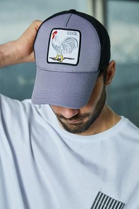 Sateen Men Erkek Koyu Gri Nakışlı Şapka