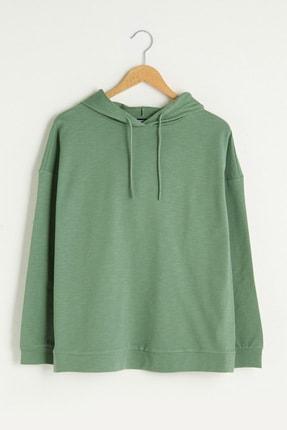 LC Waikiki Kadın Mat Yeşil Classic Sweatshirt