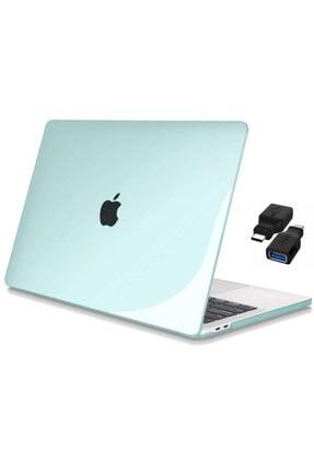 """CODEGEN Apple 13"""" Macbook Air A2337 M1 Kristal Yeşil Kılıf Koruyucu + Usb Çevirici"""