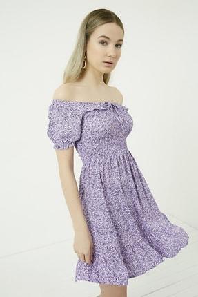 Vis a Vis Kadın Lila-Beyaz Gipeli Yakası Bağlamalı Kloş Elbise STN781KEL120