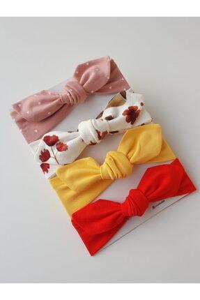swan butik Kız Çocuk Bebek Bandana Toka Seti 4'lü Pembe, Kırmızı, Beyaz Ve Desenli