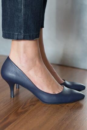 Modabuymus Kadın Lacivert Kısa Topuklu Stiletto Ayakkabı - Candy