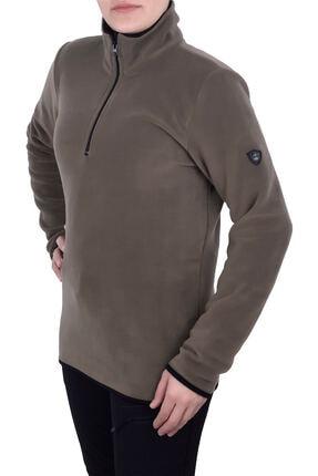 GHASSY CO. Kadın Haki Yarım Fermuarlı Sweatshirt