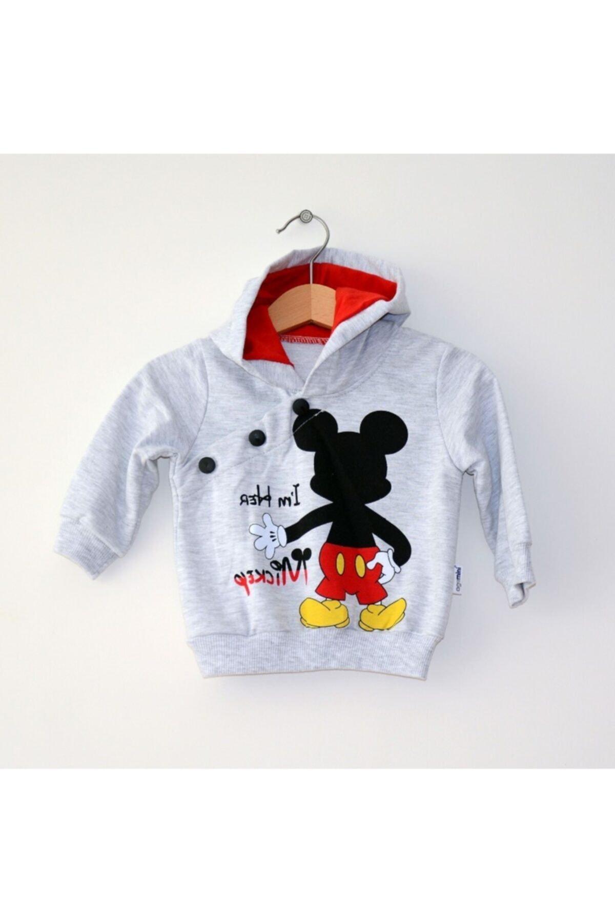 Mickey Mouse Miniya Erkek Çocuk Kapüşonlu Kırmızı Eşofman Takımı 2