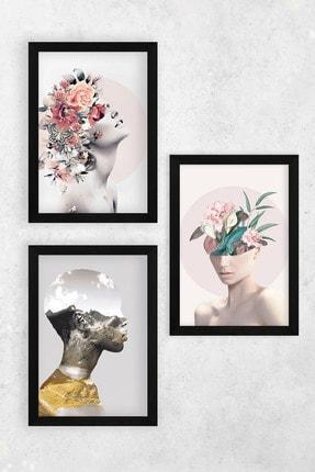Tontilika Ahşap Çerçeve Görünümlü Kadın Isimli 8mm Dekoratif 3'lü Tablo Seti