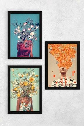 Tontilika Ahşap Çerçeve Görünümlü Çiçek Kadın Isimli 8mm Dekoratif 3'lü Tablo Seti