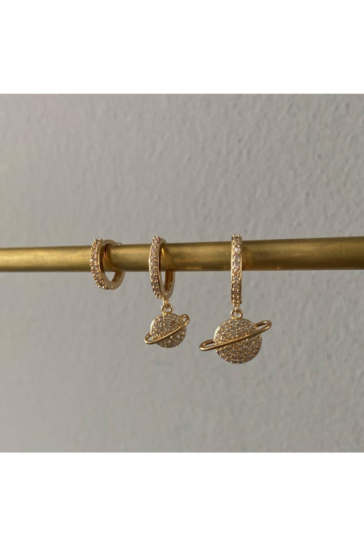 Accessories Zirkon Taşlı Gold Üçlü Set Küpe 2