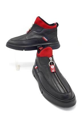 CassidoShoes Erkek Siyah Özel Tasarım Hakiki Deri Önden Fermuarlı Spor Bot