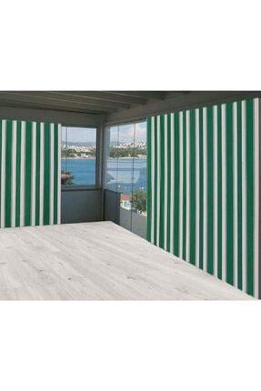 Evim Yeşil Beyaz Çizgili  550/250 Balkon Branda Perdesi