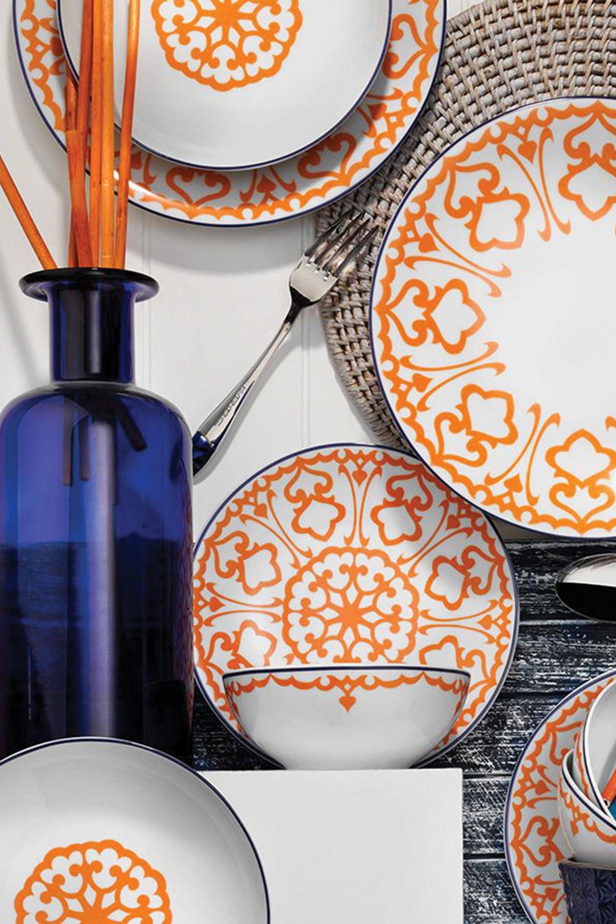 Kütahya Porselen Turuncu Desenli 24 Parça Yemek Takımı 1