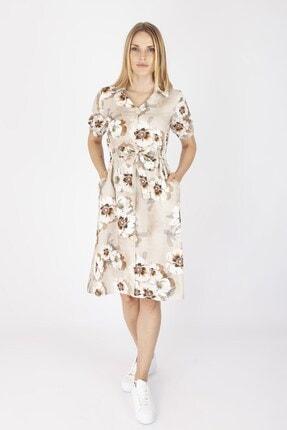 NOMENS Kadın Bej Çiçek Desenli Keten Elbise
